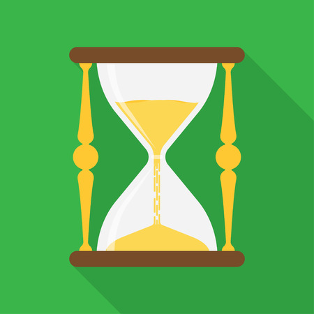 hourglass isolated with long shadow. Vector flat design illustration