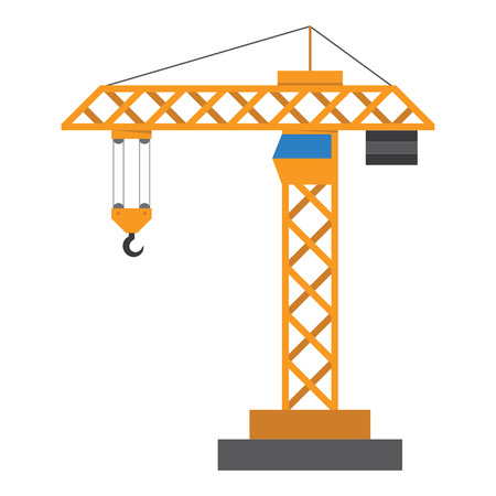 Construction crane in a flat style isolated on white background. Vector illustration