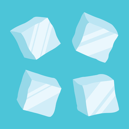 opaque: Set of four opaque ice cubes in blue colors