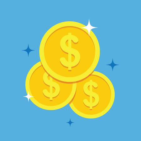 Coins icon vector illustration in a flat style. Stack of coins on a colored background. Gold coins dollar flat vector sign.  イラスト・ベクター素材