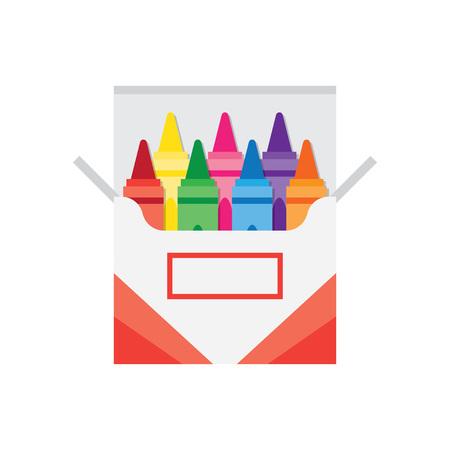 full box of wax colorful crayons, vector illustration