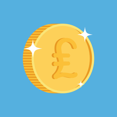 british pound: gold coin icon with british pound symbol. One penny coin. British pound icon