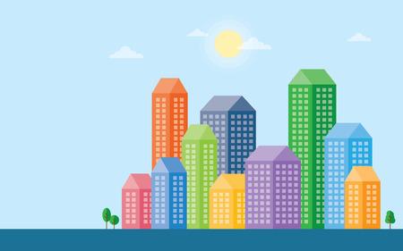 corporate building: Flat design modern vector illustration of urban landscape and city life. Building