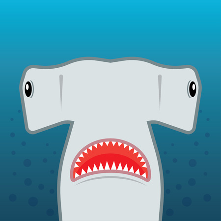 hammerhead: hammerhead shark with open mouth. isolated on a blue background. Flat vector illustration Illustration