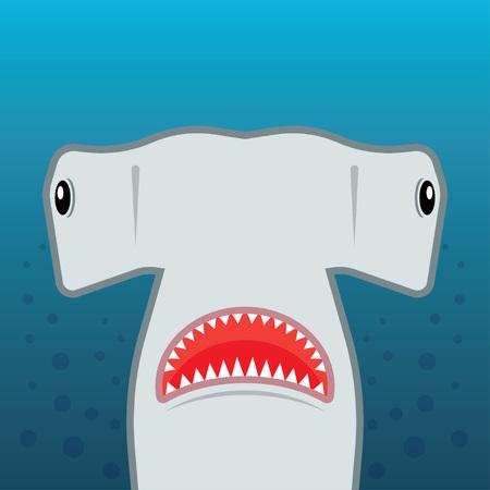 pez martillo: tiburón martillo con la boca abierta. aislado en un fondo azul. ilustración vectorial plana