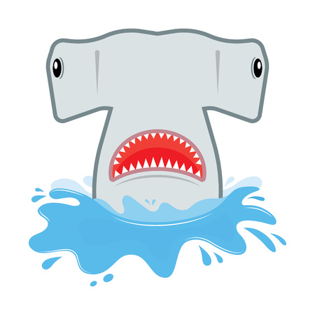 hammerhead: hammerhead shark with open mouth. He jumps out of water, isolated on white background. Flat vector illustration