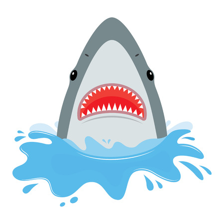 shark with open mouth. He jumps out of water, isolated on white background. Flat vector illustration Иллюстрация