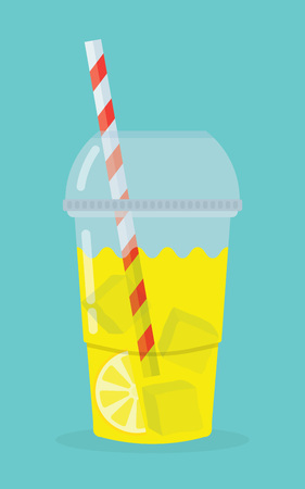 lemon slices: glass with lemonade, lemon slices tube and pieces of ice on a blue background