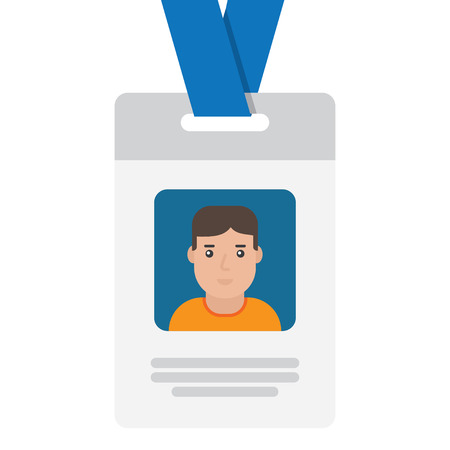 neckband: User id card with female photo. Business conference concept. Id card for businessman. Simple vector flat illustration
