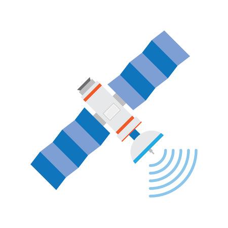 satellite tv: GPS satellite, flat style illustration. Wireless satellite technology. World global net.