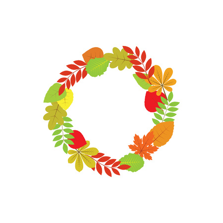 autumnal: Autumnal frame. Wreath of autumn leaves. Background with hand drawn autumn leaves. Fall of the leaves. Vector illustration.