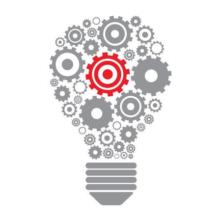 ampoule et engrenages Lumière. Perpetuum concept idée mobile. illustration vectorielle