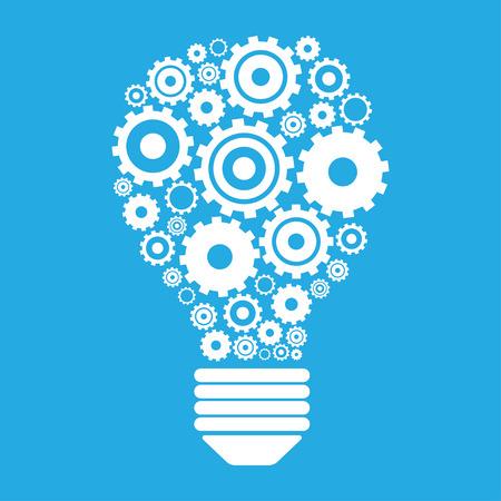 Light bulb and gears. Perpetuum mobile idea concept. vector illustration