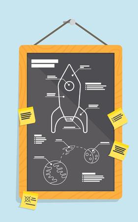 Cartoon blueprint of rocket ship. vector illustration Illustration