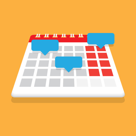 reminders: Planning calendar. Record in the calendar with reminders. Organizer. Vector illustration. Flat design style. Date calendar. Illustration