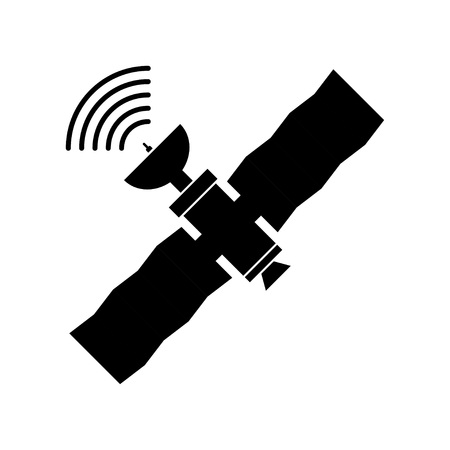 GPS satelitarny, płaski styl ilustracji. Bezprzewodowa technologia satelitarna. Światowa globalna sieć.