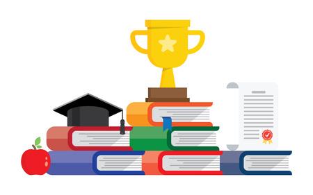 Graduation awards pedestal with cup, graduate cap and certificate. Books steps graduation podium.