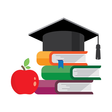 alumni: books with hat on them. Graduation cap symbol of education, learning, knowledge, intelligence, flat cartoon.. Vector illustration