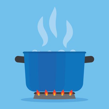Kokend water in de pan op het fornuis. Blauwe kookpot op fornuis met water en stoom in de keuken