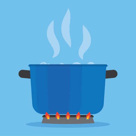 Boiling water in pan on stove. Blue cooking pot on stove with water and steam in the kitchen Illustration