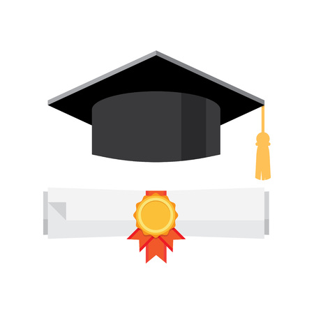 Cap and diploma for the student. Vector illustration Illustration