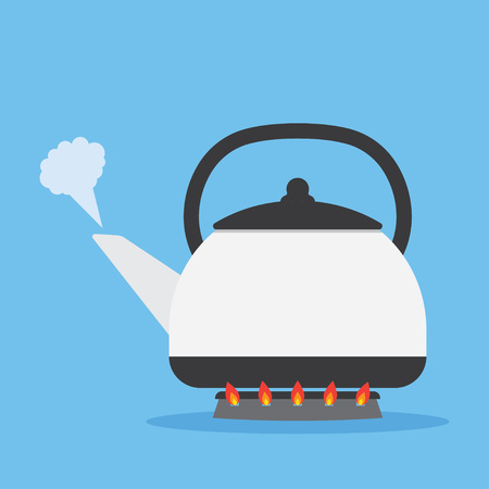 heated: kettle heated on the stove to boil. Isolated on blue background