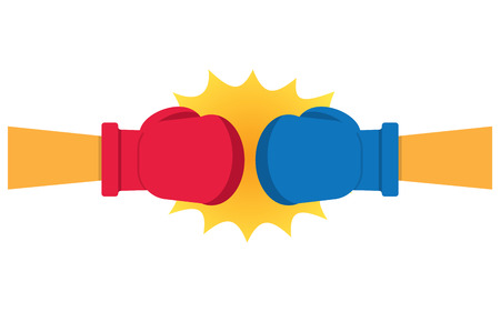 punching: Boxing Gloves Hitting vector illustration, on a white background