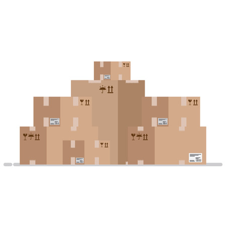 moving box: Move service box full vector illustration. Craft box isolated on background. Box for moving. Transportation package