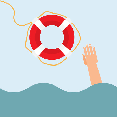 overwhelmed: Helping to survive. Drowning getting lifebuoy from another.