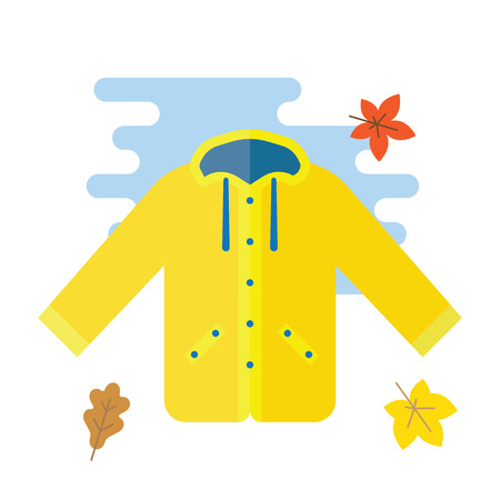 yellow jacket: Yellow raincoat jacket flat style vector illustration. Autumn or spring yellow raincoat waterproof clothes Illustration