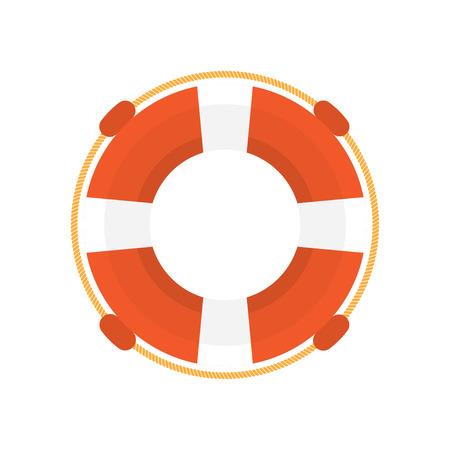 Flache Designillustration des Lifebuoy, lokalisiert auf einem weißen Hintergrund, Vektorillustration Standard-Bild - 65182467