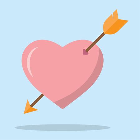 Arrow heart icon. Love sign. Valentines symbol. Vector illustration