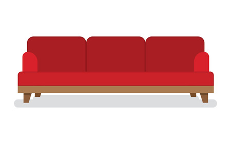 leather sofa: Red leather sofa for living room vector illustration