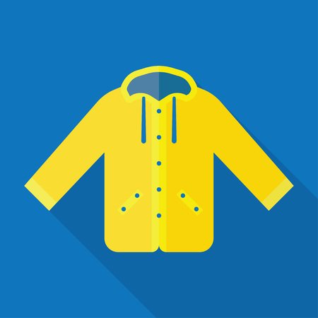 Yellow raincoat jacket flat style vector illustration. Autumn or spring yellow raincoat waterproof clothes Illustration