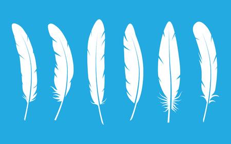 Piume vettore in bianco e nero silhouette collezione. illustrazione vettoriale piuma su sfondo blu. piume bianco Vector. set Feather illustrazione vettoriale.