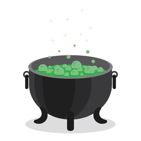 magic cauldron: cauldron of boiling green liquid. Witch s magic. Magic potion for Halloween. Illustration