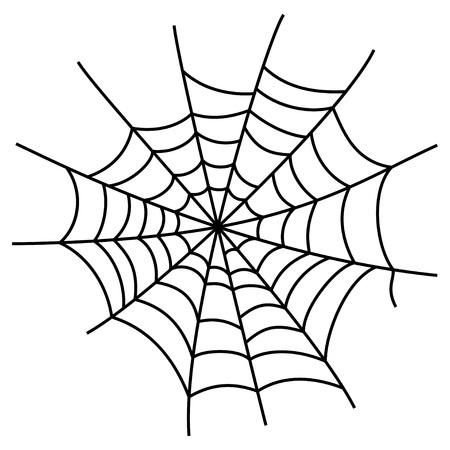 arachnid: Black cobweb element, isolated on white background. Symbol of halloween, network, trap and danger, scary, arachnid. Vector illustration