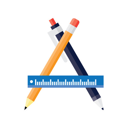 Design and development concepts, drawing project, sketching object, working instruments. Flat vector illustration.