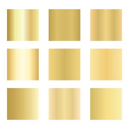 Set di sfumature dorate. Sfondi dorati sfondo texture metallo oro. Illustrazione vettoriale
