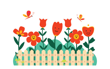Beautiful garden with different flowers and butterflies behind the fence Vektoros illusztráció