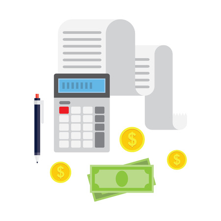 tax bills: Concept of tax payment and invoice. Tax bills, cash money, coins, calculator, pencil. Vector illustration