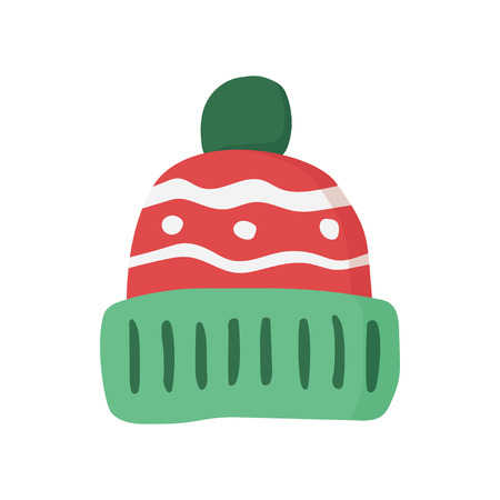 beanie: Knitted red cap, Winter hat icon. Vector illustration