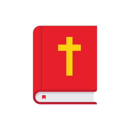 gold cross: holy bible with gold cross icon isolated, closed book