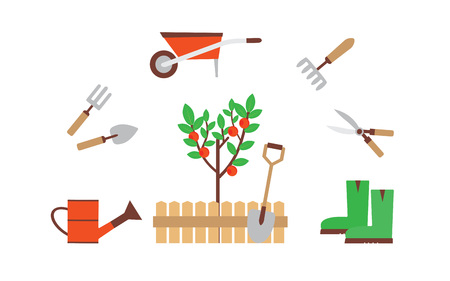 The collection of gardening tools. The perfect equipment for the garden. Set flat vector illustrations. Illustration