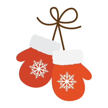 흰색 배경에 고립 된 만화 스타일에서 빨간 장갑. 액세서리 기호 벡터 일러스트 레이션
