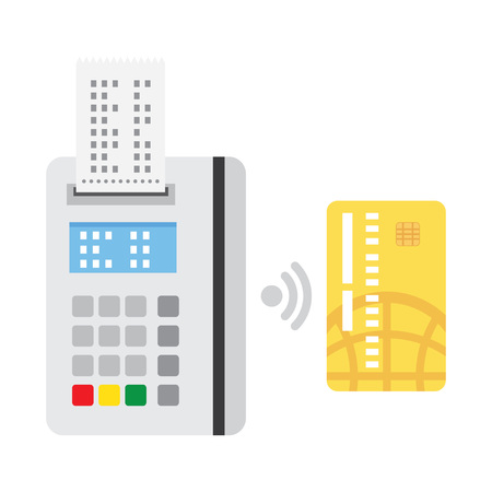 confirms: Pos terminal confirms the payment by debit credit card. nfc payments concept, near field communication technology. vector illustration Illustration