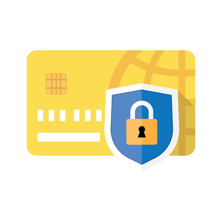 safe payment: Credit card and Padlock. Concept of a safe payment, illustration a white background