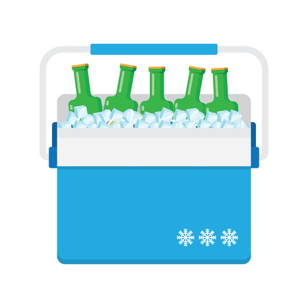 cooler boxes: freezer-bag in blue color with fruits and drinks. vector illustration isolated on white background