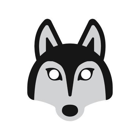 face mask: face mask animal dog husky, on a white background