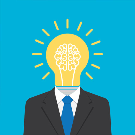 businessman with light bulb head. Concept about idea. creativity metaphor, leader concept. Vector illustration